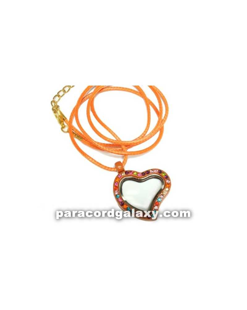 Floating Heart Locket Necklace in Orange
