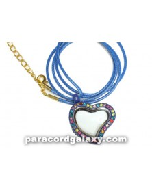 Floating Heart Locket Necklace Blue