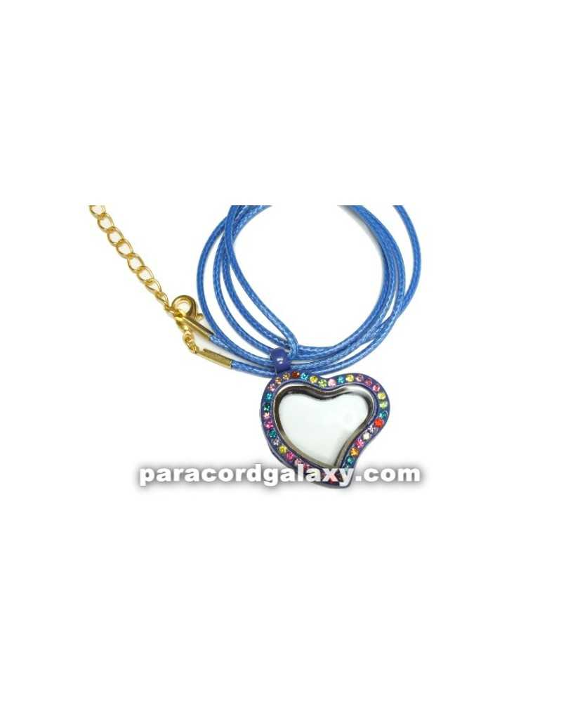 Floating Heart Locket Necklace in Blue