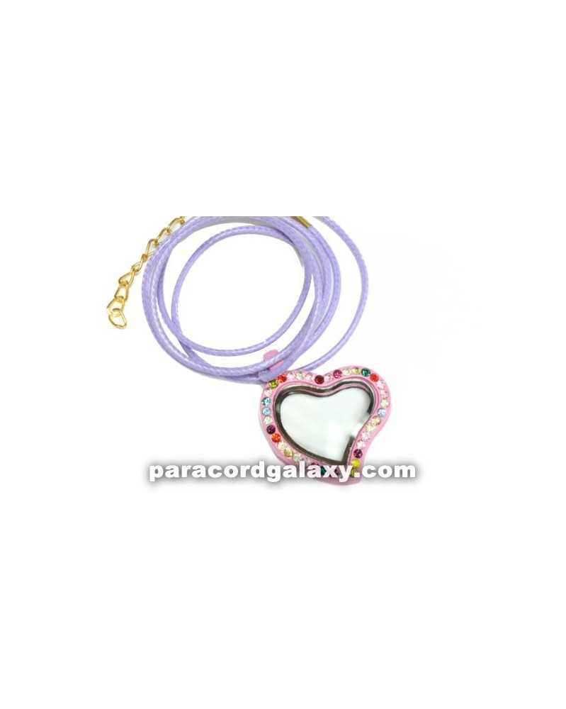 Floating Heart Locket Necklace in Pink/Purple