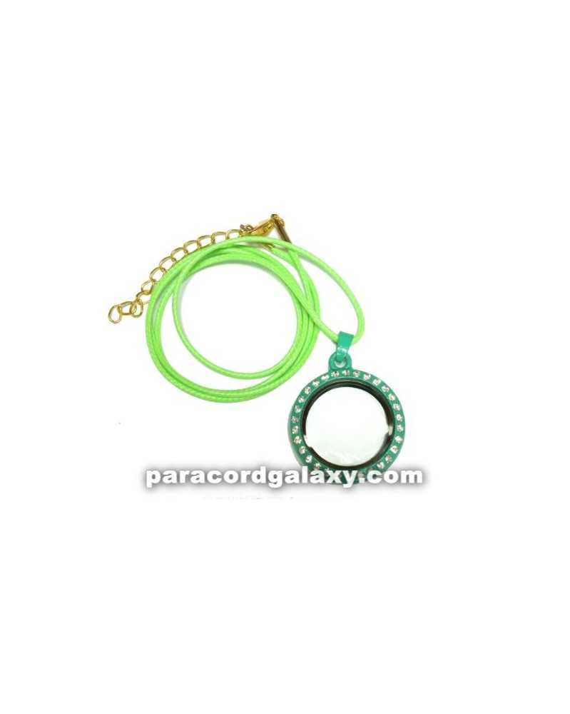 Floating Round Locket Necklace in Green