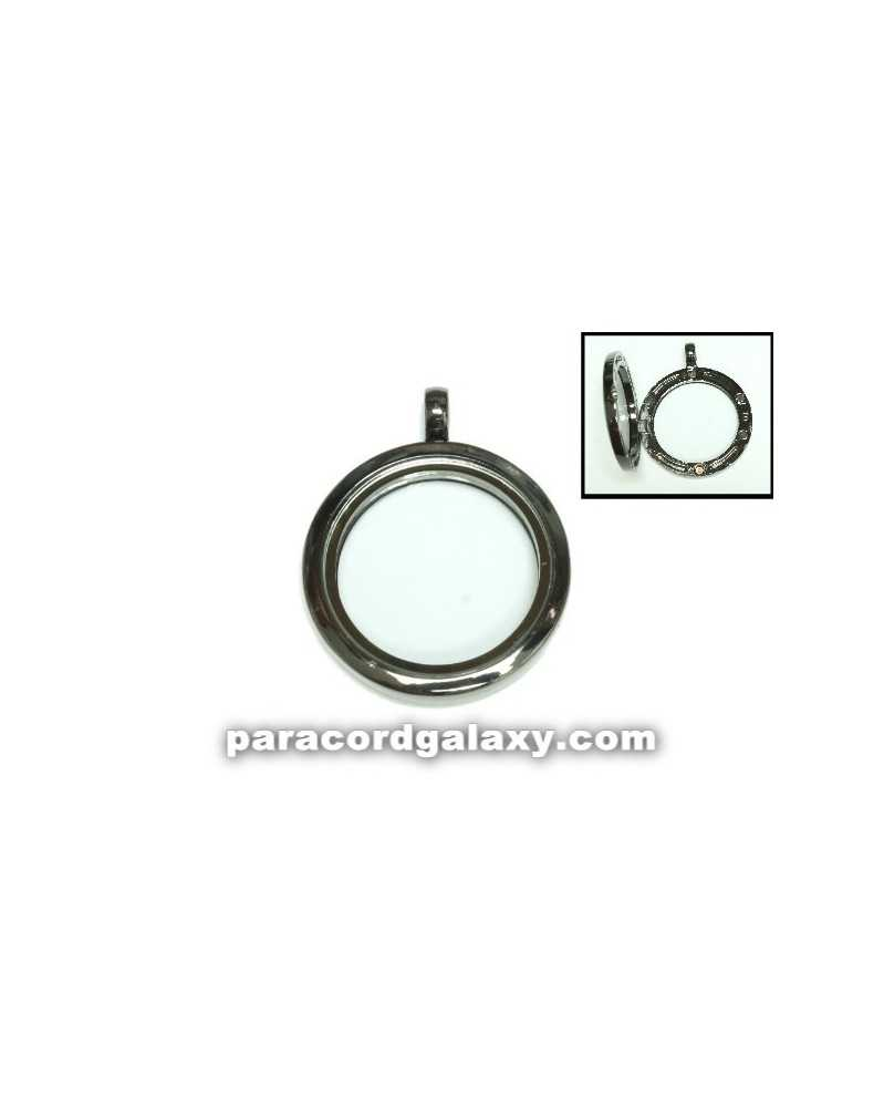 Floating Round Locket Pendant Gunmetal Grey