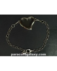 Floating Heart Locket Bracelet Silver Tone