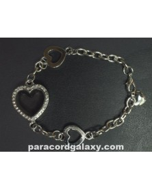 Floating Heart Locket Bracelet Silver Tone with Jewels