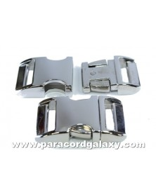 "BZ 3/4"" - HIGH POLISH NICKLE PLATED ALUMINUM - Side Release Buckle"