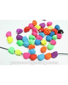 Bright Neon Skull Bead Mixed Colors