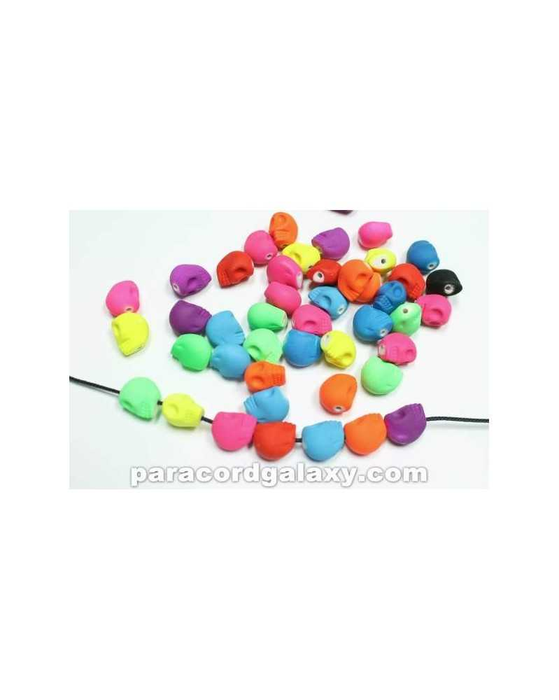 20 PACK - Bright Neon Skull Bead Mixed Colors