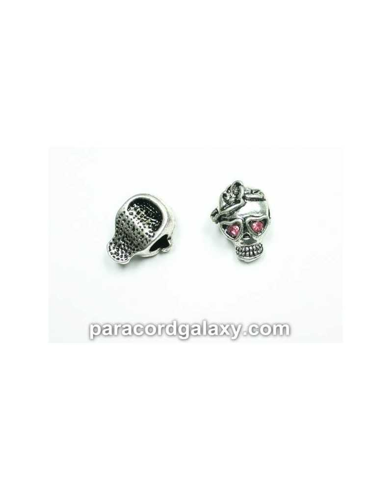 10 PACK - Skull Bead with Pink Rhinestones