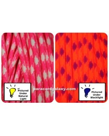 550 Paracord Fashionista Neon Pink & White Made in USA