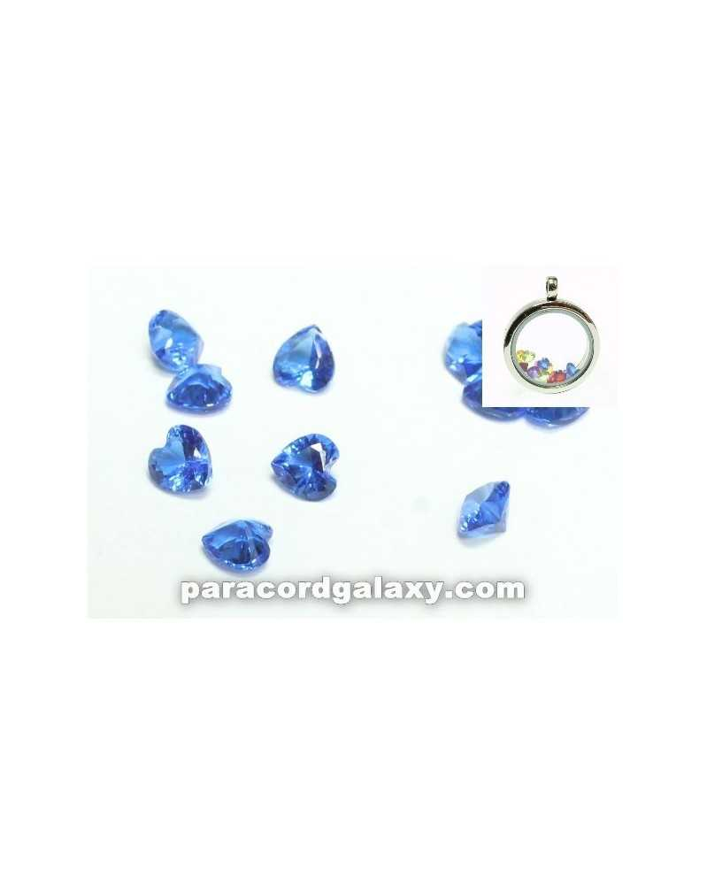 SINGLE - Birthstone Floating Charms Heart Dark Blue