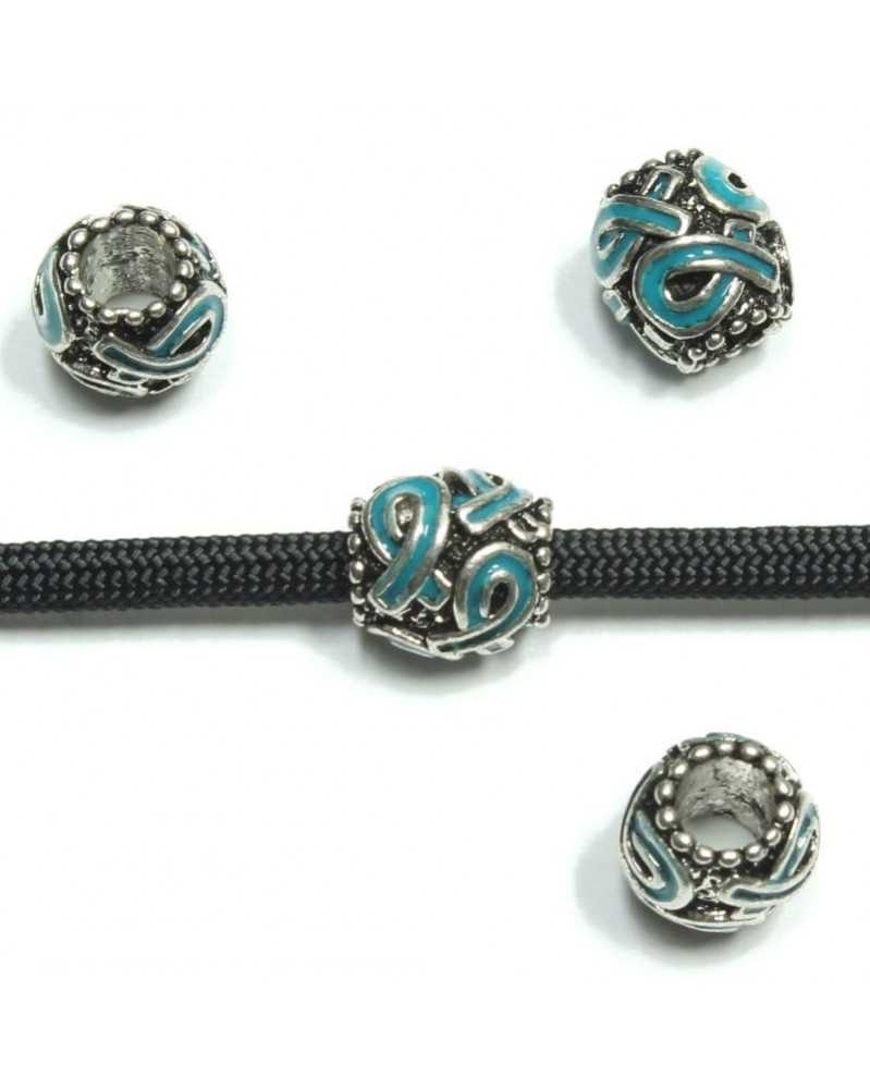 Blue Ribbon Awareness Barrel Bead - Single Bead