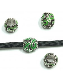 Green Ribbon Awareness Barrel Bead