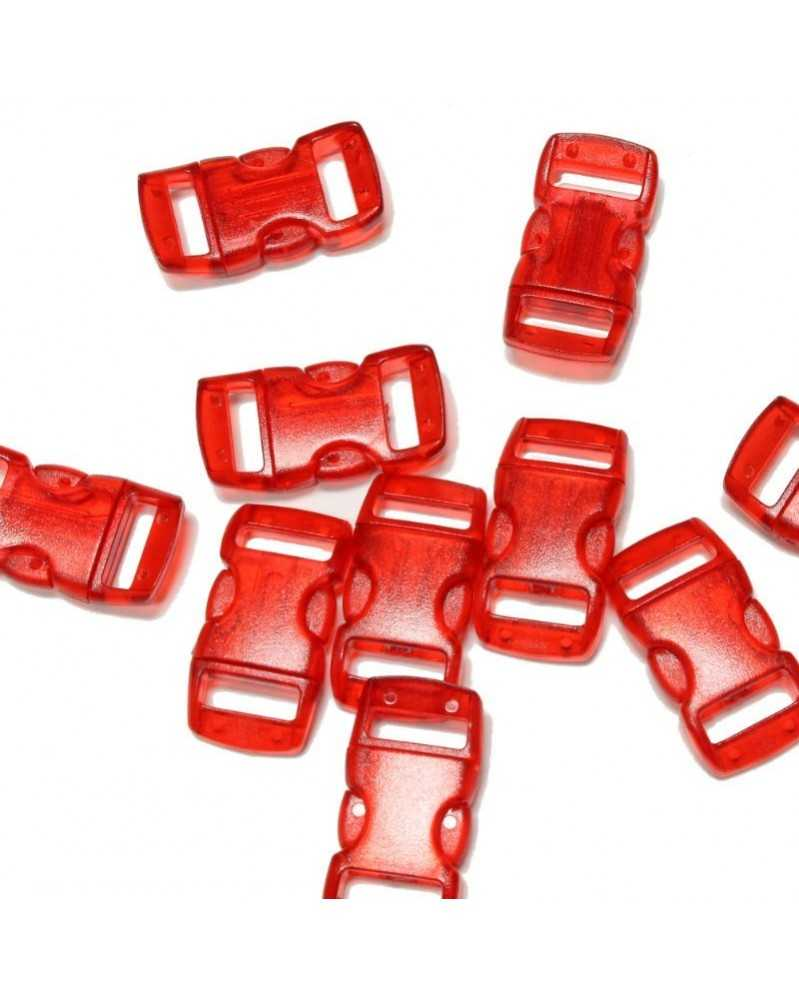 "10 PACK - 3/8"" - CLEAR RED - Side Release Buckles"