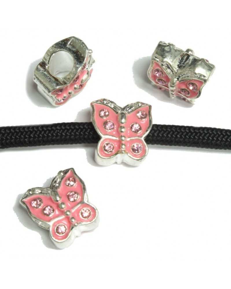Pink Butterfly On Silver - Bead/Charm for Paracord