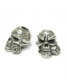 Rose Skull Pewter Bead USA Made Single Bead