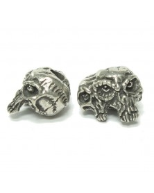 Gemini Twins Skull Bead Pewter USA Made Single Bead