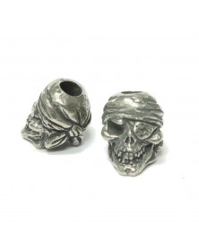Schmuckatelli Pewter One-Eyed Jack Skull Bead USA Made