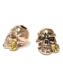 Rose Skull 2-Tone Gold USA Made Single Bead