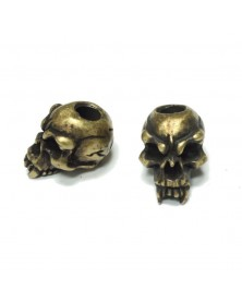 Schmuckatelli Roman Brass Oxidized Plated Fang Skull Bead USA Made