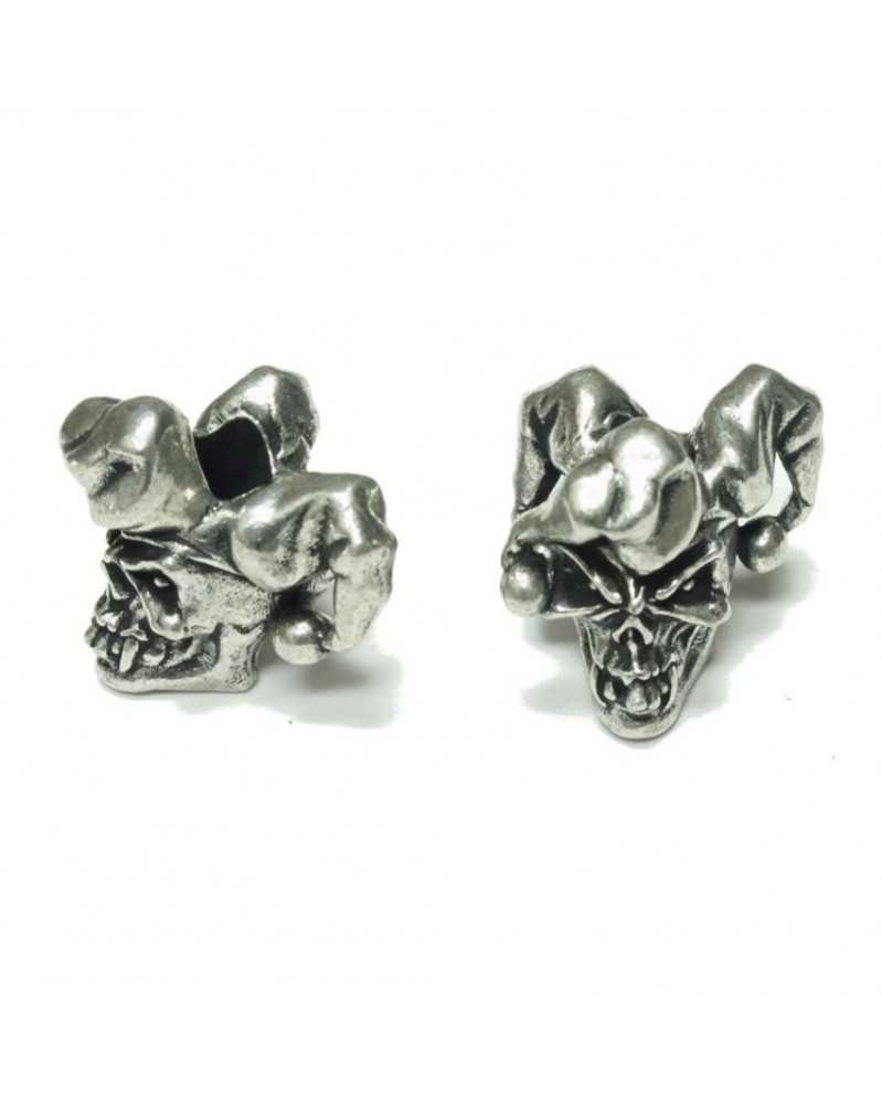 Jester Skull Pewter USA Made Single Bead