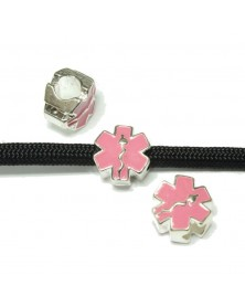 10 PACK - Silver & Pink EMS Charm for 550 Paracord