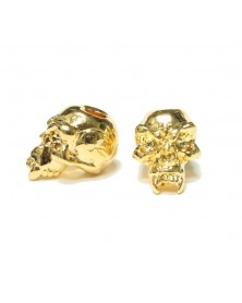 Fang Skull Plated 18K Gold USA Made Single Bead
