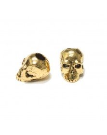 Schmuckatelli Antique Gold Plated Classic Skull Bead USA Made