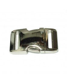 BZ 1 IN - FLAT HIGH POLISH NICKEL PLATED ALUMINUM - Side Release Buckle