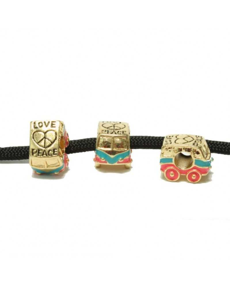 10 PACK - Van Love & Peace - Gold Tone w/Pink & Blue - Bead/Charm for Paracord