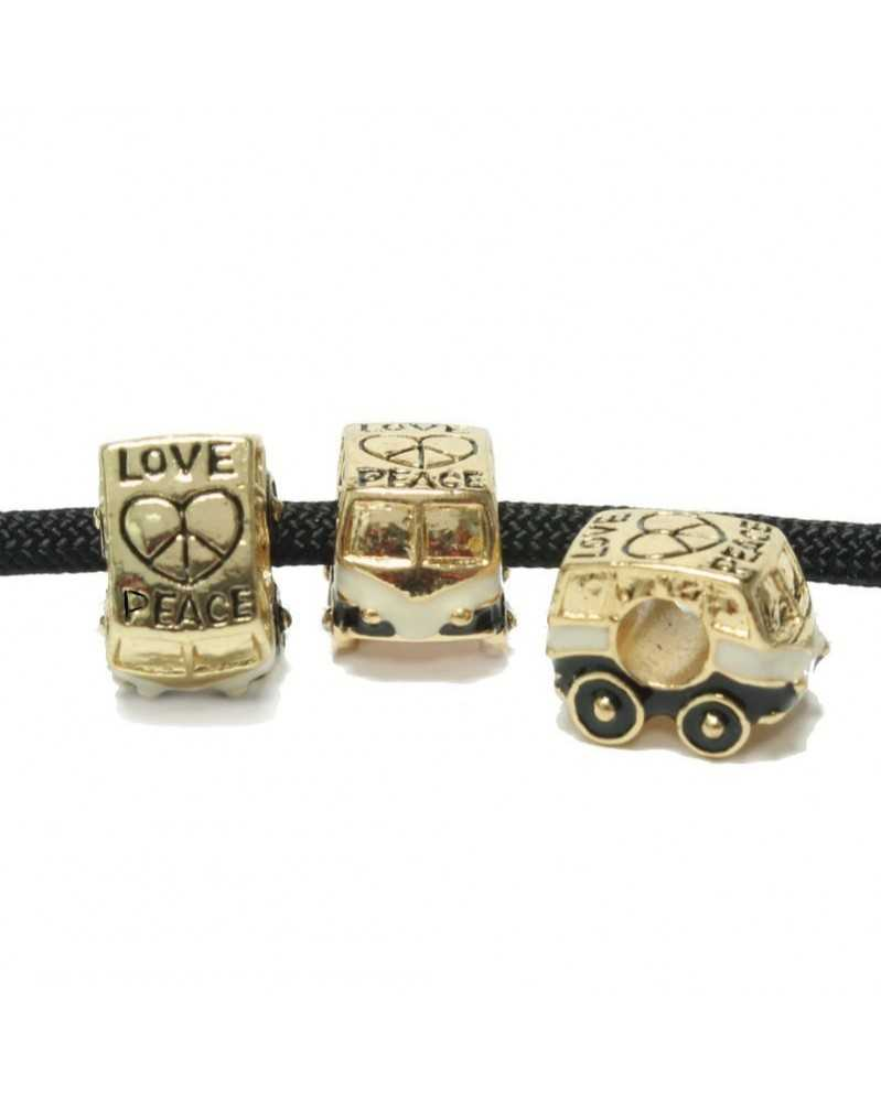 10 PACK - Van Love & Peace - Gold Tone w/Black & White - Bead/Charm for Paracord