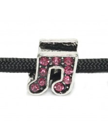 Single Charm Musical Note w/ Pink Jewels