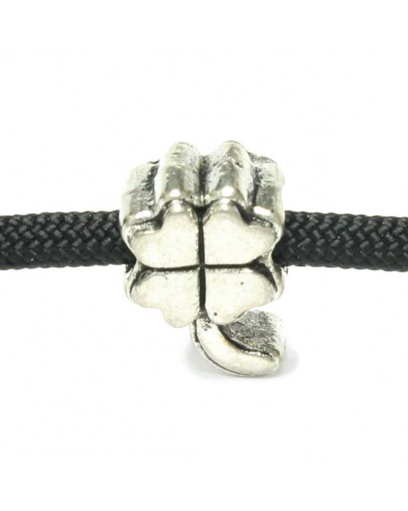 10 PACK - Four Leaf Clover - Silver - Bead/Charm for Paracord