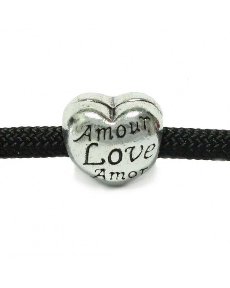 "10 PACK - ""Amour Love Amor"" - Silver - Bead/Charm for paracord"