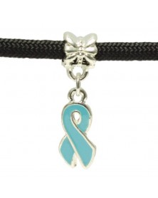 Single Charm Dangling Pale Blue Ribbon