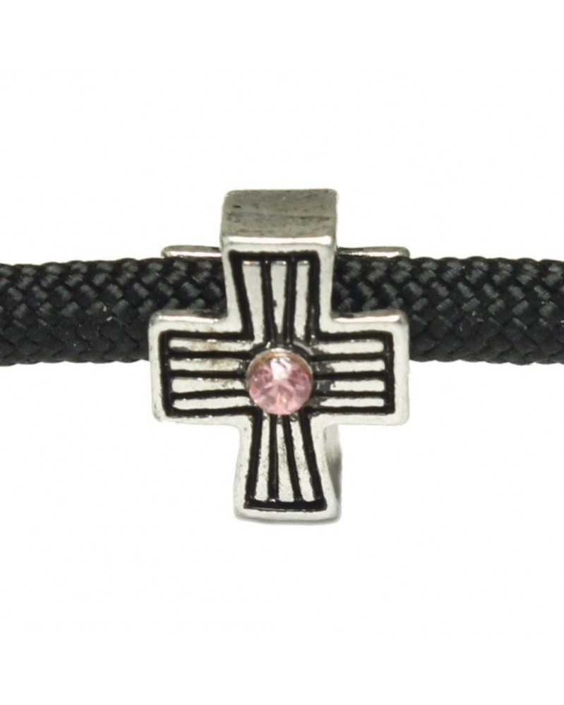 10 PACK - Antiqued Cross with Pink Stone for 550 Paracord