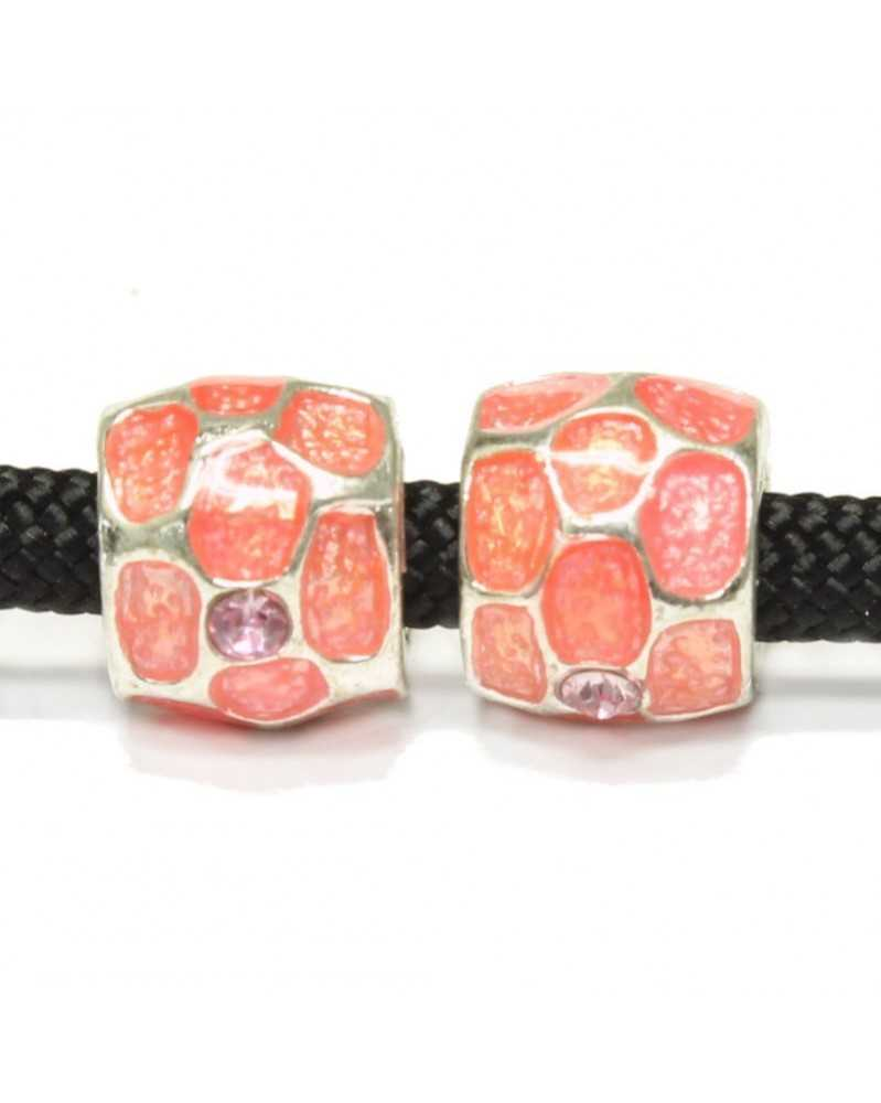 Single Bead Pink Painted with Jewels