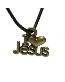 10 pack - I Love Jesus Charm Antique Bronze