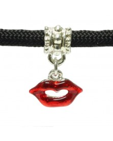 Dangling Lip Charm with Red Enamel