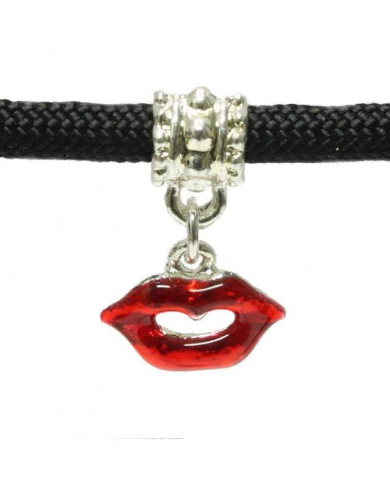 Single Bead - Lips Charm with Red Enamel