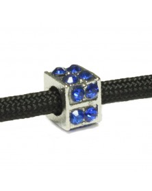 Square Bead with Blue Rhinestones