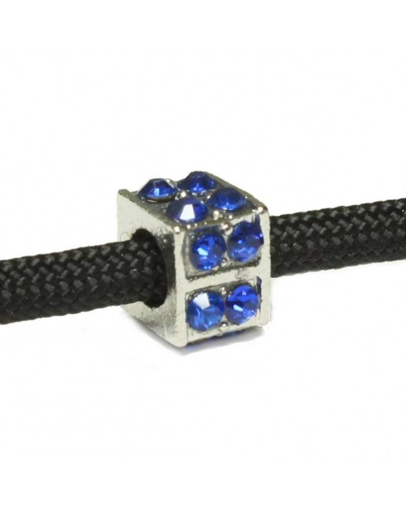 10 PACK - Square Bead with Blue Rhinestones