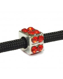 Square Bead with Red Rhinestones