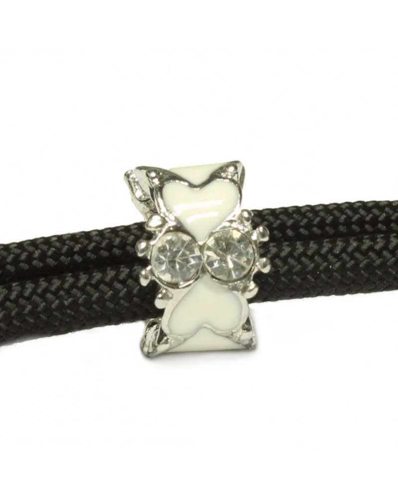 Single White Hearts Bead with Clear Rhinestones