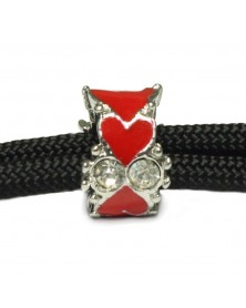 Red Enamel Hearts with Clear Jewels Charm