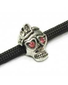 Skull Bead with Pink Rhinestones