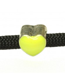 Yellow Enamel Heart Shaped Bead - Small