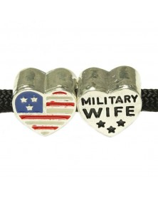 Charm Heart USA Flag Military Wife