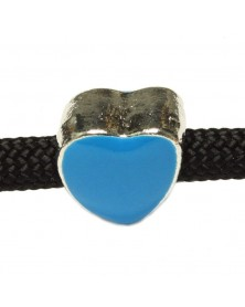 Blue Enamel Heart Shaped Bead - Medium