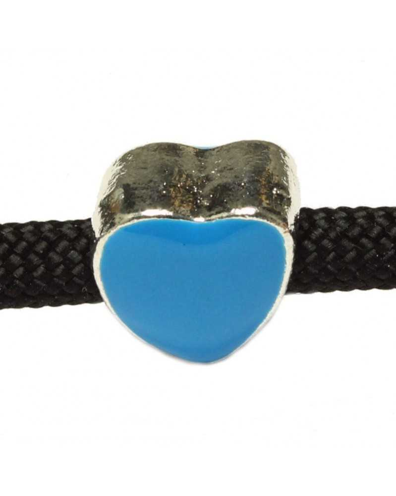 Single Heart Shaped Bead br Blue Enamel - Medium