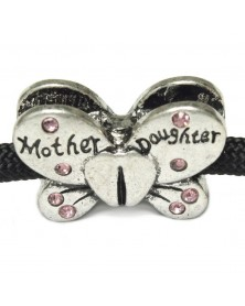 Mother/Daughter Butterfly Bead with Pink Rhinestones